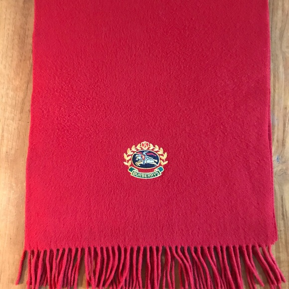BURBERRY Red Lambswool Scarf